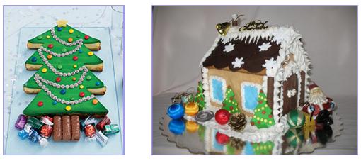 """Новогодний торт """"ёлка"""" и """"пряничный домик"""""""